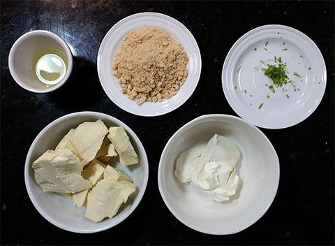 Ingredientes para preparar o recheio de cheesecake de limão.