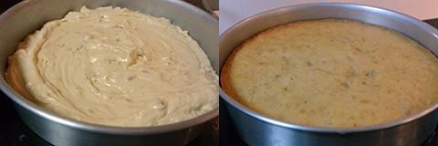 Massa do bolo de nozes antes de ir ao forno e depois de assada