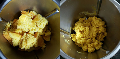 Massa de bolo cortada (à esquerda) e massa com recheio pronta para enrolar (à direita)