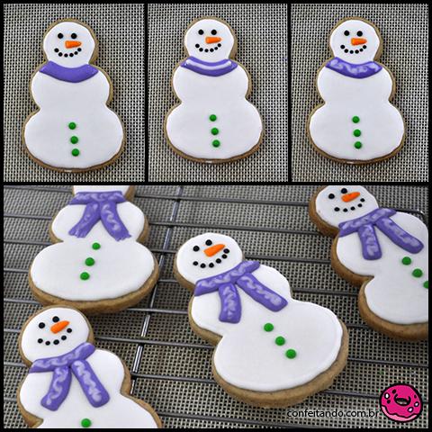 Biscoito decorado boneco de neve passo a passo