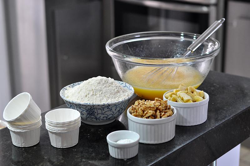 Ingredientes: muffins de banana com nozes