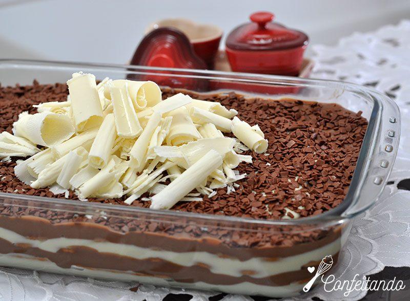 receita de pave de chocolate branco e preto