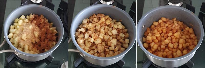 etapas da compota de maçã